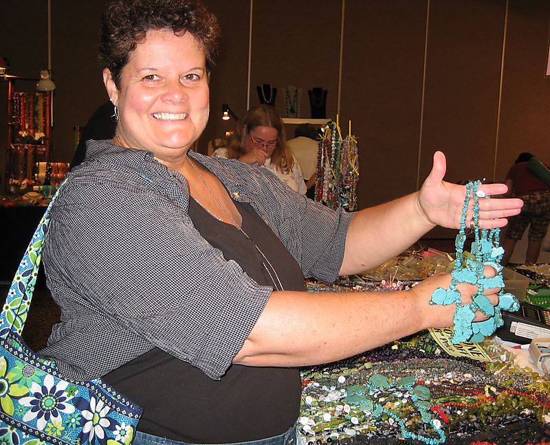Sue at the bead show